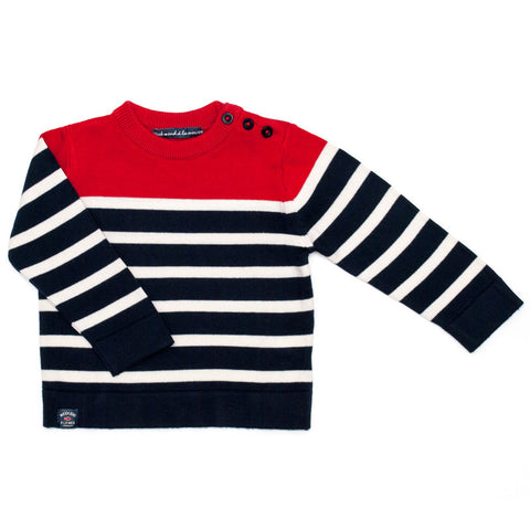 Week-End á La Mer - Boys Red, White & Navy Striped Jumper-Jumper-Sweet Peas Kidswear