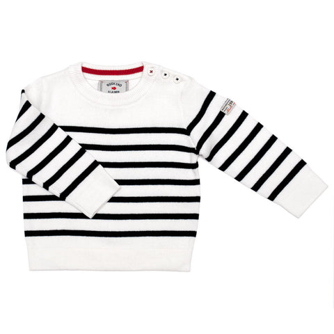 Week-End á La Mer - Boys Off White & Navy Striped Jumper-Jumper-Sweet Peas Kidswear