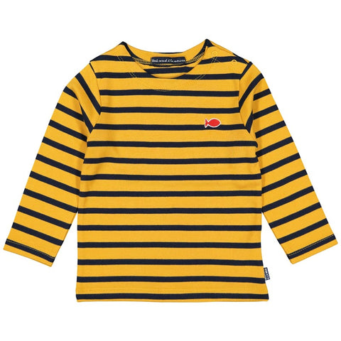 Week-End á La Mer - Boys Yellow & Navy Striped Long Sleeved Top-Top-Sweet Peas Kidswear