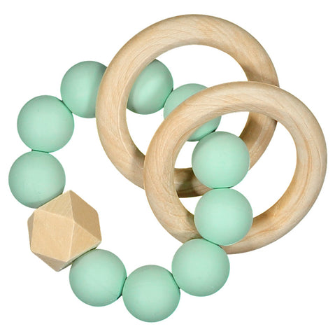Nibbling - Mint Natural Wood Teething Rattle-Teething Rattle-Sweet Peas Kidswear