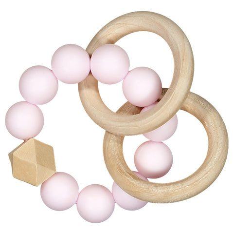 Nibbling - Pink Natural Wood Teething Rattle-Teething Rattle-Sweet Peas Kidswear