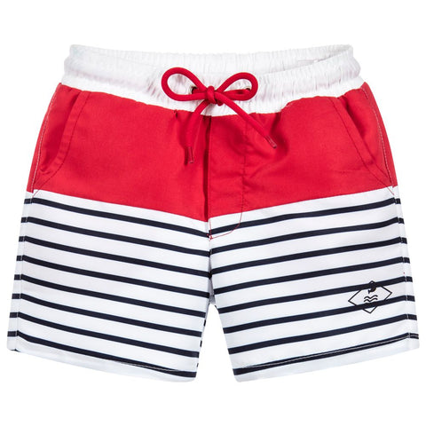 Week-End á La Mer - Boys Blue, White & Red Striped Swim Shorts-Swim Short-Sweet Peas Kidswear