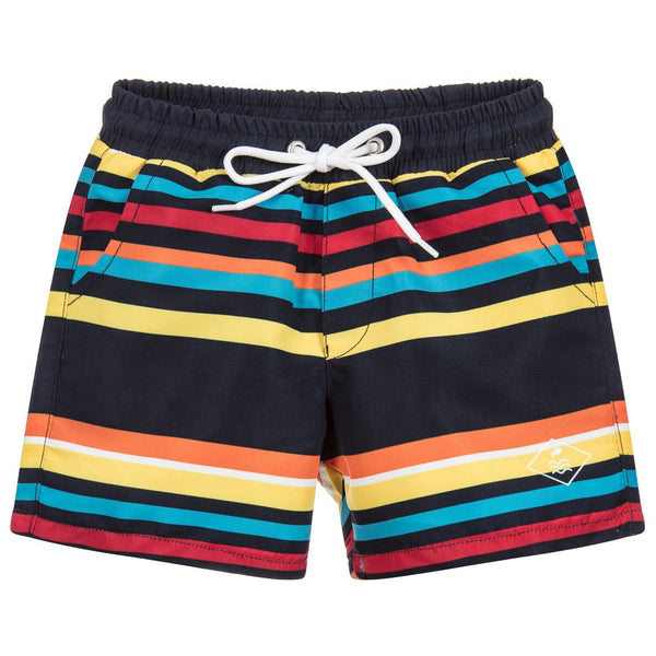 Week-End á La Mer - Boys Multi-Coloured Striped Swim Shorts-Swim Short-Sweet Peas Kidswear