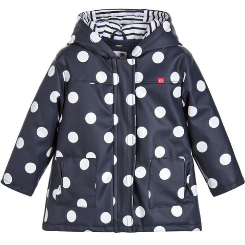 Week-End á La Mer - Girls Navy Blue & White Polka Dot Raincoat-Coat-Sweet Peas Kidswear