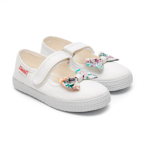 Cienta Mary Jane Style Canvas Shoes - White with Coral Print Bow-Canvas Shoes-Sweet Peas Kidswear