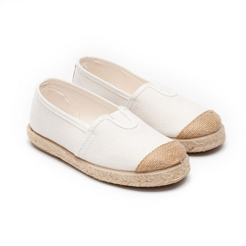 Cienta White Espadrille-Canvas Shoes-Sweet Peas Kidswear