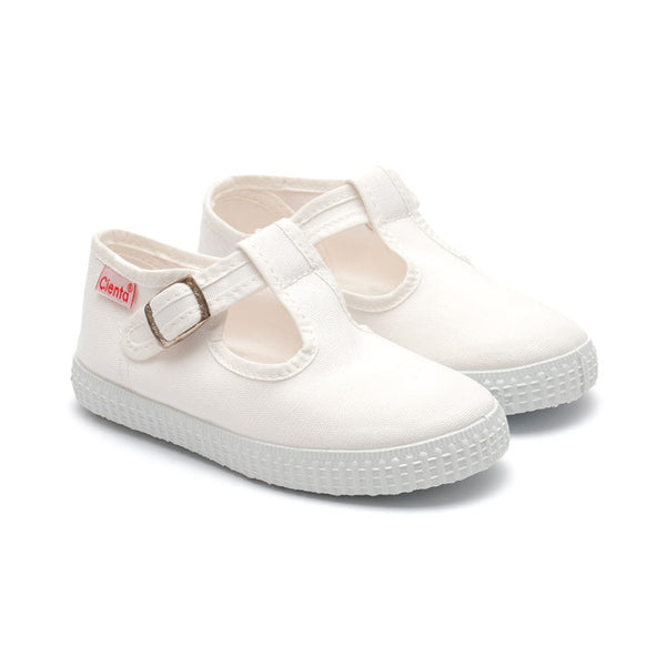 Cienta T-Bar Canvas Shoes - White-Canvas Shoes-Sweet Peas Kidswear