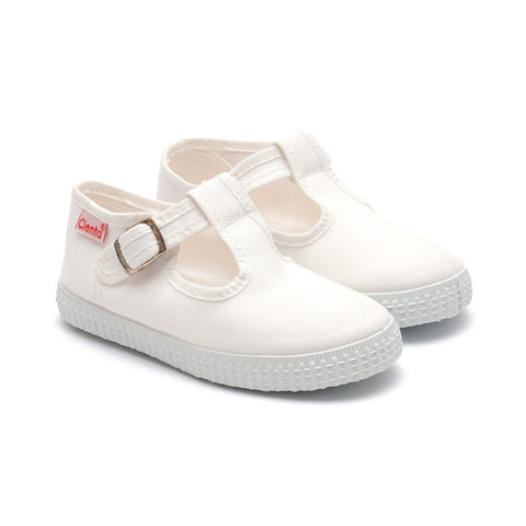 Cienta T-Bar Canvas Shoes - White - Sweet Peas Kidswear  - 1