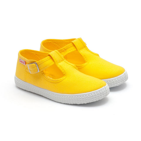 Cienta T-Bar Canvas Shoes - Yellow-Canvas Shoes-Sweet Peas Kidswear