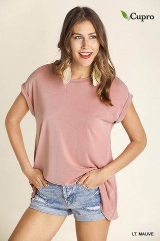 A-line short sleeve tie back top -- mauve