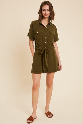 Button Down Romper Olive