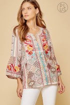 Savanna Jane Patchwork Print Embroidered Peasant Top