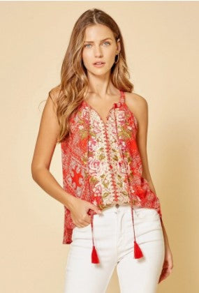 Savanna Jane Sleeveless Embroidered Top in Red