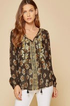 Black Metallic Embroidered Peasant Top