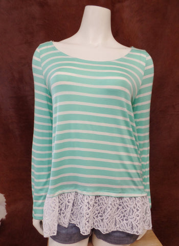 Mint Stripe Lace Back Top