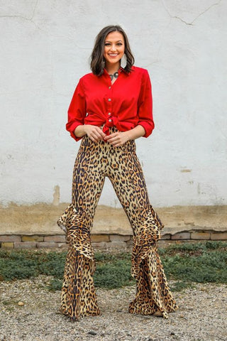 LEOPARD FLARE PANTS WITH RUFFLE