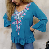 Teal Baby Doll Embroidered Top