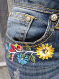 Grace In LA Mika Distressed Floral Patch Bootcut Jeans