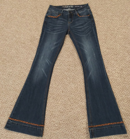 Grace In LA Leopard Accented Flare Jeans