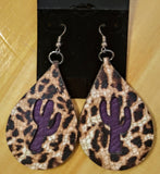 "2 1/2"" Leather Teardrop Inlay Earrings"