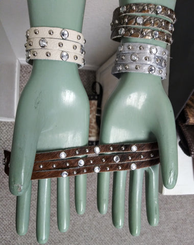 "1"" Fringe Rhinestone Studded Leather Bracelet"