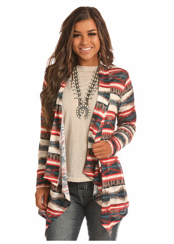 Rock And Roll Cowgirl Aztec Print Cardigan