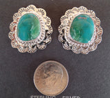 Sterling Silver Turquoise Floral Concho Post Earrings