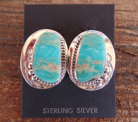 Large Kingman Turquoise Sterling Silver Post Earrings