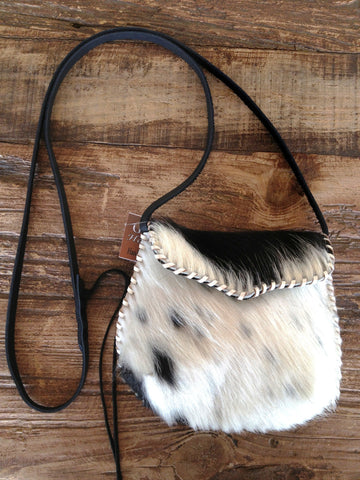 Black and White Cowhide Crossbody Purse