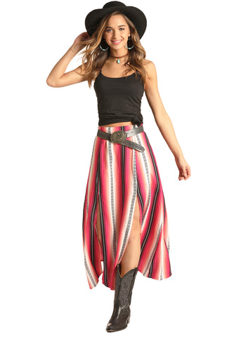 Rock and Roll Cowgirl Front Slit Skirt