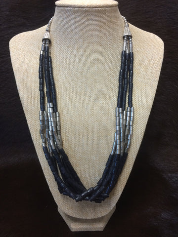 Silver & Black 3 to 6 Strand Necklace