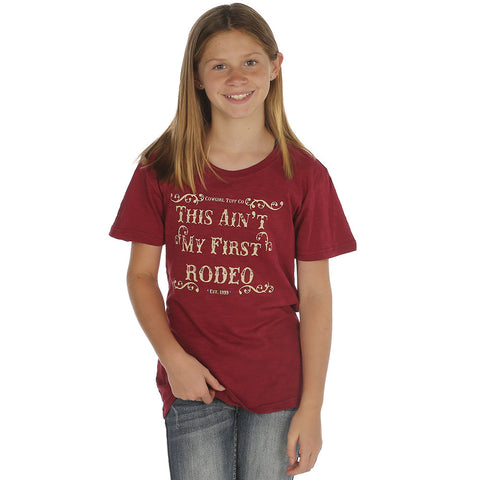 "Girl's Cowgirl Tuff Red ""Aint My First Rodeo"" Tee"