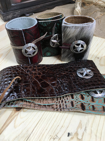 Embossed Leather or Hair-on-Hide Koozie Wraps