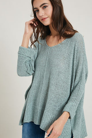3/4 sleeve Yarn sweater
