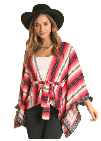 Rock & Roll stripped Poncho with Fringe