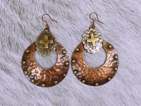 Hammered Copper & Brass Earrings