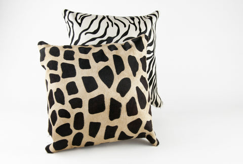 Stenciled Giraffe & Zebra Pillows