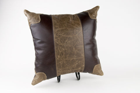 Distressed Two Tone Leather Pillow