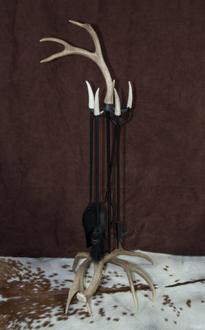 Whitetail Antler Fireplace Tool Set