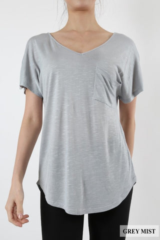 Misty Grey Scoop Neck Top