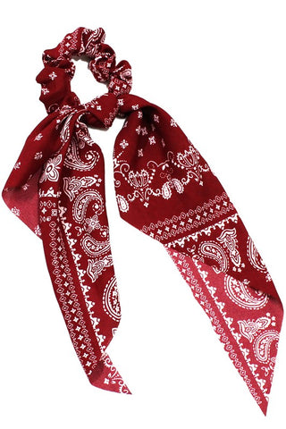 Bandana Print Bow Tie Scrunchie in Red, Black and Navy