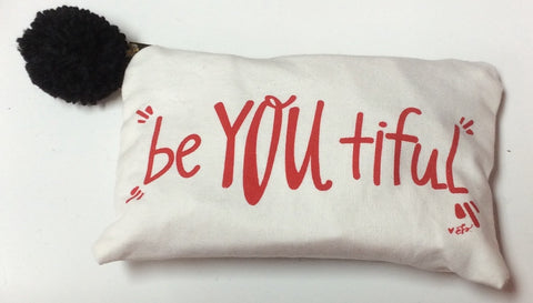 "Canvas Cosmetic Bag ""beYOUtiful"" in Red"