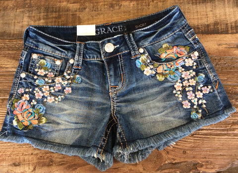 Grace In LA Peach Blossom Embroidered Shorts
