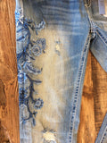 Grace In LA Easy Fit Blue Floral Distressed Skinny Jeans
