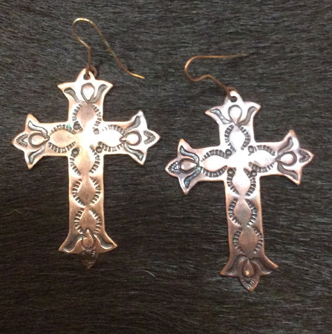 Copper Hand Stamped Cross Earrings