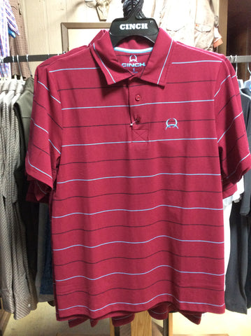 Cinch Burgandy Embossed Athletic Polo