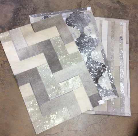 2' x 3'  Cowhide Patchwork Area Rug with Metallic