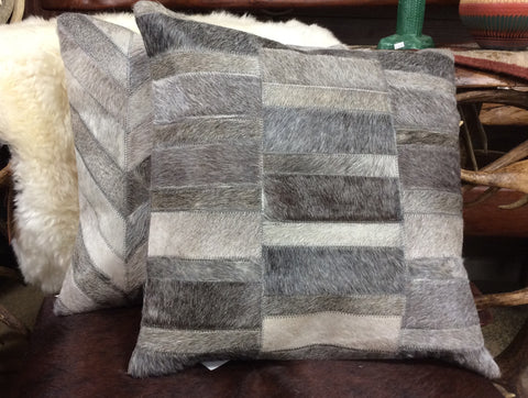 Grey Cowhide Pillow