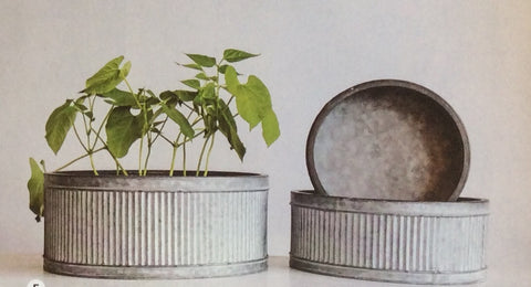Corrugated Metal Containers Set of 3