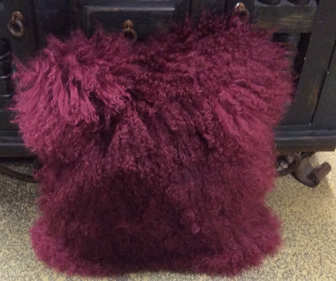 BURGANDY Mongolian Lamb Fur Pillow